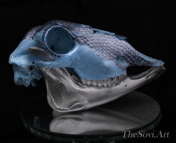 Blue and chrome skull